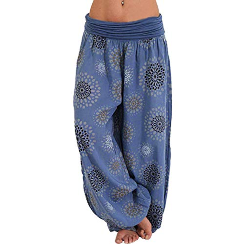 - JOFOW Harem Pants Womens Hippie Casual Boho Sunflowers Floral Print Pleated Bloomers Long Low Waist Yoga Saggy Trousers Gift (M,Dark)