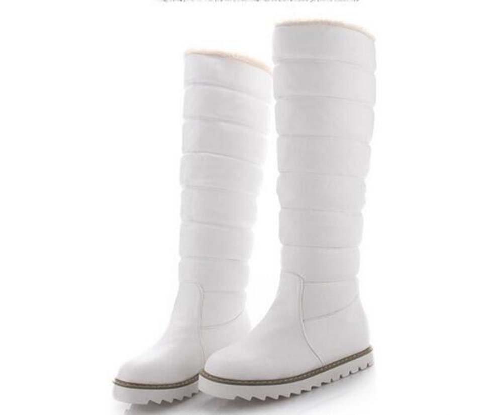 Botas de nieve de las mujeres Botas altas hasta la rodilla 3 cm Ocultar Tacón Punta redonda Impermeable caliente de la felpa Color puro Zapatos casuales Botas al aire libre Eu Tamaño 33-43 ( Color : Blanco , Size : 34 ) 34|Blanco