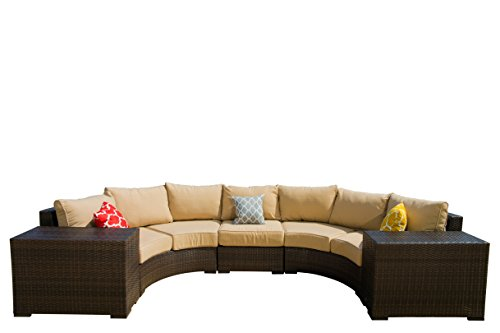 Curved Sectional Sofa (Vida Outdoor Pacific 5 Piece Curved Wicker Sectional Set with Wheat Cushions)