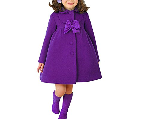 HBDesign Cute Imitation Wool Bowknot Girl Overcoat Dress Coat Outer Wear Winter Purple Size 10