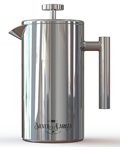 French Press Coffee Maker, 1 Liter, Easy Clean Stainless Steel, Double Walled, Happiness ...
