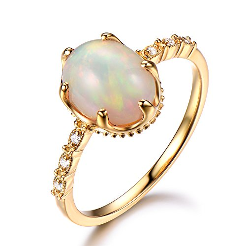 Oval Cut Opal Engagement Ring 925 Sterling Silver Yellow Gold Plated Solitaire CZ Diamond Promise Gift by Milejewel Opal Engagement Ring