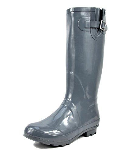 ARCTIV8 ORIGIN Women's Waterproof Rubber Tall Pull On Winter Snow Rain Boots Grey Gloss Size 8