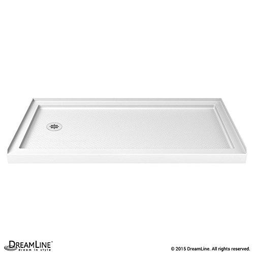 DreamLine SlimLine 34 in. D x 60 in. W x 2 3/4 in. H Left Drain Single Threshold Shower Base in - Right Tiling Flange