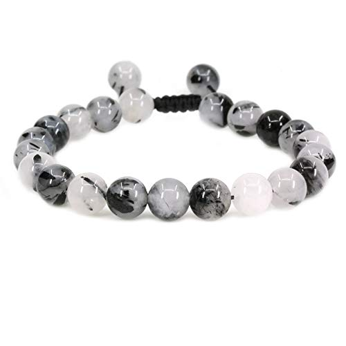 Macrame Bracelet Adjustable Black - Natural Black Rutilated Quartz Gemstone 8mm Round Beads Adjustable Braided Macrame Tassels Chakra Reiki Bracelets 7-9 inch Unisex