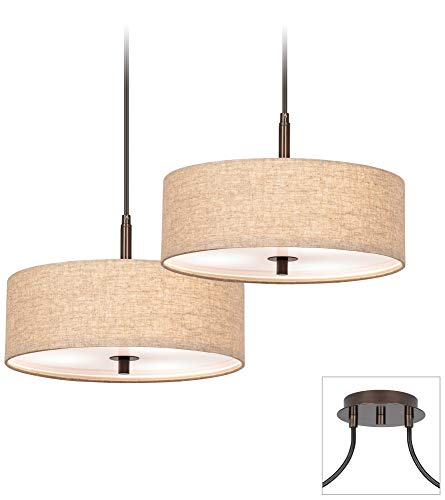 Possini Euro Tiger Bronze Cream Drum 2-Light Pendant - Possini Euro Design