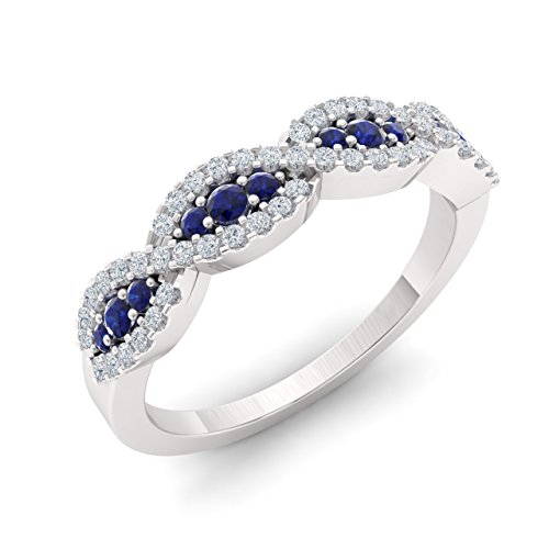 Diamondere Natural and Certified Blue Sapphire and Diamond Wedding Ring in 10K White Gold | 0.48 Carat SI1-SI2 Quality Swirl Wedding Band for Women, US Size 7.5 ()