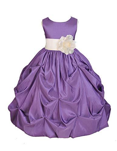 Purple Pick-up Bubble Taffeta Flower Girl Dresses Formal Dress Junior Flower Girl Dress 301s 8