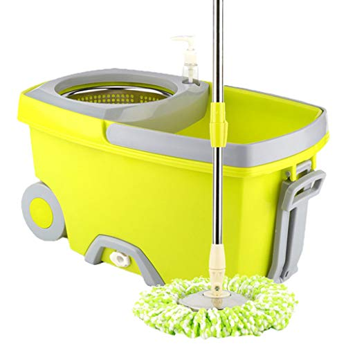 JinJin Upgraded Stainless Steel Deluxe 360 Spin Mop & Bucket Floor Cleaning System Included Easy Press Handle with 3 Microfiber Mop Heads Microfiber Head (Green) (Best Spin Mop In India)