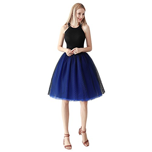 ShowYeu Femmes Rockabilly A-Ligne Tutu Tulle Jupe Robe de Fte Mi-Mollet Vintage Jupon Party Dress Balle De Bal Petticoat Marine Bleu Royal1