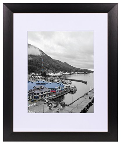 Golden State Art, Black Color Satin Aluminum Landscape Or Portrait Photo Picture Frame with Ivory Color Mat & Real Glass (11x14) ()