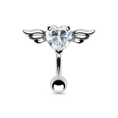 West Coast Jewelry {Clear}316L Steel Navel Belly Button Ring Top Down Angel Winged 8mm Heart CZ - 14GA - Clear (Sold Ind.) (West Coast Belly Rings)