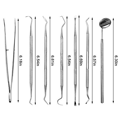7 Pcs Dog Dental Tooth Scaler and Scraper Tool-Double Headed Stainless Steel Tartar Remover-Tooth Scraper Tartar Dental Scaler Tweezers Mouth Mirror Pet Teeth Cleaning Tools for Dog and Cat (7Pcs)