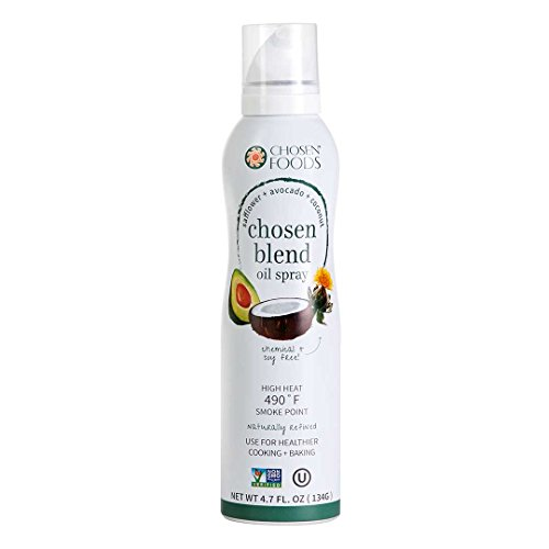 Chosen Foods Chosen Blend Oil Spray 4.7 oz. (2 Pack), Non-GMO, 490° F Smoke Point, Propellant-Free, Air Pressure Only for High-Heat Cooking, Baking and (Vegetable Oil Frying)