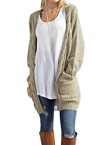 (OmicGot Women's Open Front Cardigans Cable Knit Long Sleeve Loose Sweater Light Grey S)