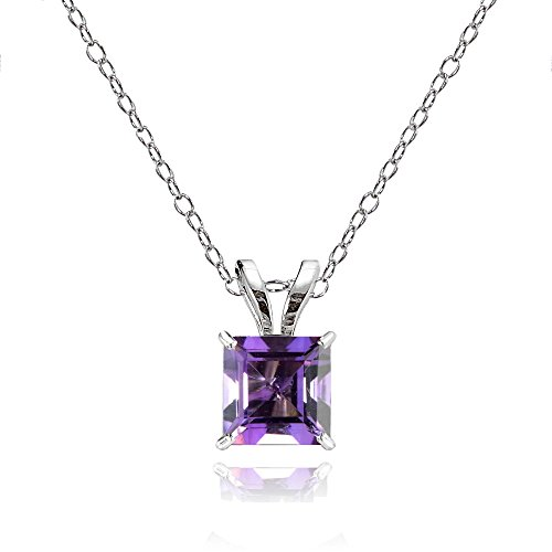 Bria Lou 14k White Gold African Amethyst Gemstone 6mm Square-Cut Solitaire Pendant Necklace, (14k White Gold Amethyst Pendant)