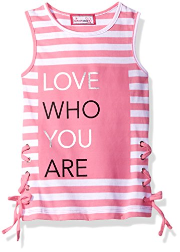 Dreamstar Dream Star Little Girls' Stripe Tank With Foil Screen and Lacing At Sides, Aurora Pink, L/6 (Aurora Tank)