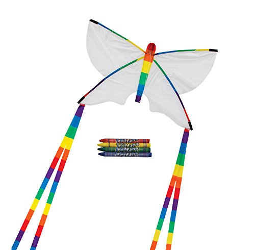 In the Breeze Coloring Butterfly Kite - Single Line - Ripstop Fabric Kite - Includes Crayons, Kite Line and Bag - Creative Fun for Kids and Adults