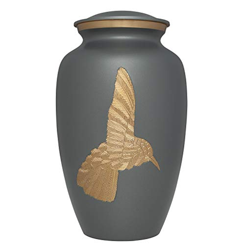 (Liliane Memorials Grey Hummingbird Funeral Urn - Cremation Urn for Human Ashes - Hand Made in Brass - Suitable for Cemetery Burial or Niche - Large Size fits Remains of Adults up to 200 lbs)