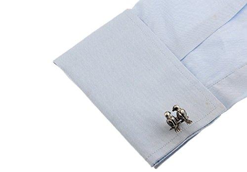 MRCUFF Love Birds Lovebirds Pair Cufflinks in a Presentation Gift Box & Polishing Cloth by MRCUFF (Image #3)