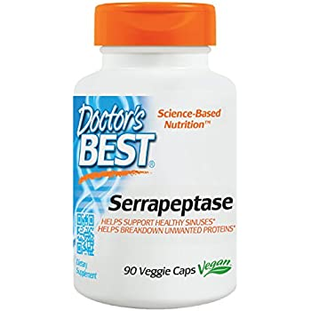 Doctor's Best Serrapeptase, Non-GMO, Vegan, Gluten Free, Supports Healthy Sinuses, 40,000 SPU, 90 Veggie   Caps