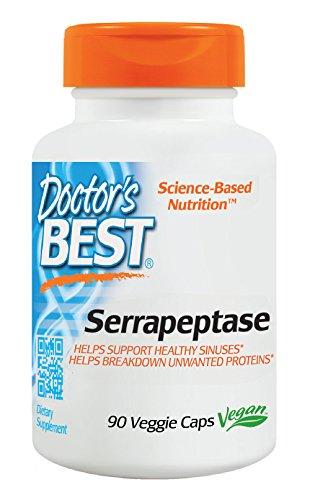 Doctor's Best Serrapeptase, Non-GMO, Vegan, Gluten Free, Supports Healthy Sinuses, 40,000 SPU, 90 Veggie Caps