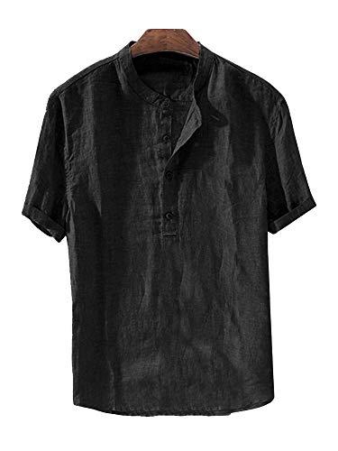 Gtealife Mens Linen Henley Shirt Casual Short Sleeve T Shirt Pullovers Tees Retro Frog Button Cotton Shirts Beach Tops (Medium, E-Black) ()