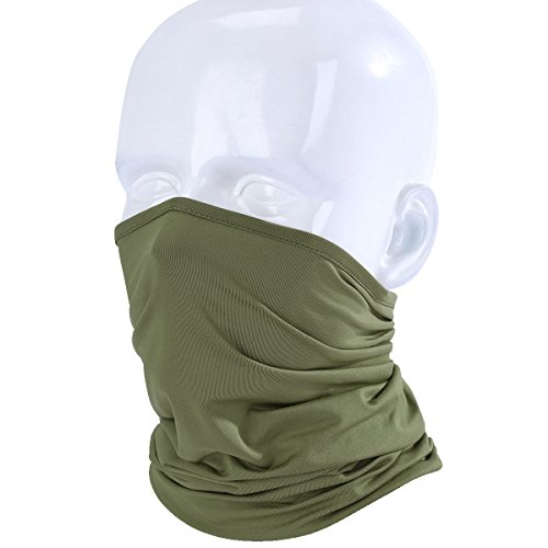 WTACTFUL Lightweight Neck Gaiter Neck Warmer Face Mask Windproof Anti-UV Protection Cover for Motorcycle Cycling Fishing Hunting Summer Outdoor Sports Suitable for Men Women Adults One Size Army Green
