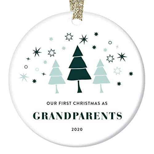 Amazon Com Our First Christmas Grandparents Ornament 2020 Gift Ideas 1st Time Grandmom Grandpop Baby First Year Memory Keepsake Promoted To Grandma Grandpa Cute Whimsical 3 Ceramic Flat Circle Tree Decoration Handmade