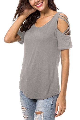Slim Cotton Polyester - NICIAS Womens Summer Round Neck Cold Shoulder Tees Slim Tunic Tops Casual Short Sleeve Strappy T-Shirt Blouse Grey L