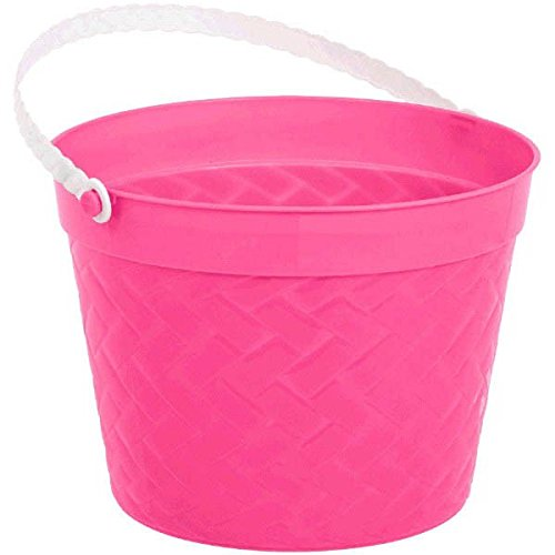 Egg-stra Special Easter Party Weave Design Bucket Favour, Pink, Plastic, 6