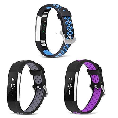 SKYLET Compatible with Fitbit Alta Alta HR Ace Bands, 3 Pack Soft Sport Bands Breathable Replacement Kids with Secure Metal Clasp Fitness Men Women Small Large (No Tracker)