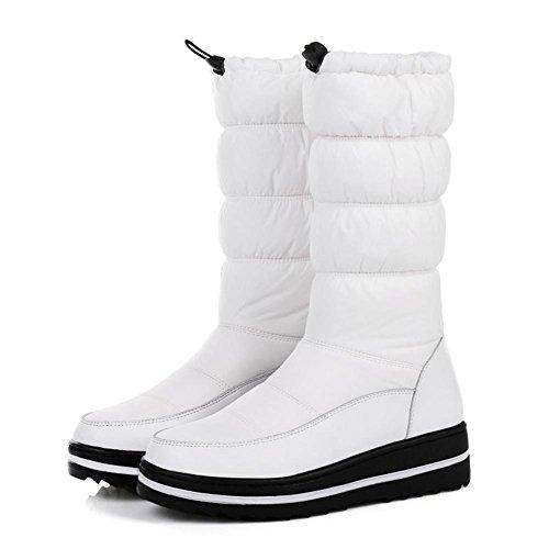 UK panno 5 da tempo giù neve 4 37 Autunno Inverno impermeabile Cuoio Antiscivolo libero Tenere Stivali genuino EUR35UK3 piatto comodo caldo Nero Donna WHITE 5 all'aperto Bianco NVXIE EUR E4xwqngXW