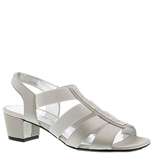 (David Tate Women's Eve Jeweled Sandal,Silver Satin,US 10.5 M)