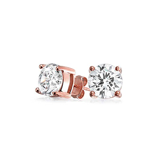 Memorial Day Bling Jewelry Rose Gold Plated Basket Set Round CZ Stud Earrings 925 Silver 5mm