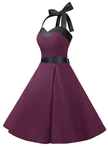 DRESSTELLS Vintage 1950s Rockabilly Polka Dots Audrey Dress Retro Cocktail Dress Burgundy Black M by DRESSTELLS (Image #2)