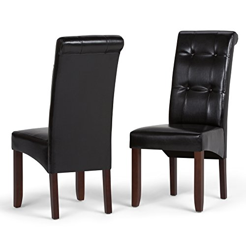 Simpli Home WS5109-4-BL Cosmopolitan Contemporary Deluxe Tufted Parson Chair (Set of 2) in Midnight Black Faux -