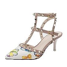 iMaySon(TM) Women's Fashionable Summer Elegant Rivets Pumps Leather Low Thin Heels Shoes