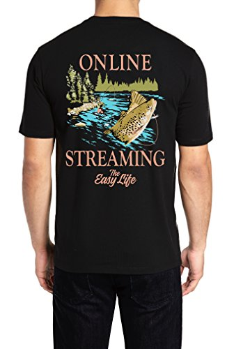 The Easy Life Mens T-Shirt Fly Fishing Online Streaming Humor (Black, XL)