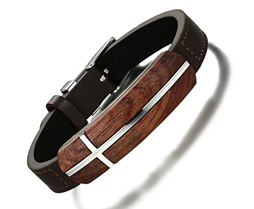 MPRAINBOW Personalized Engraving Cross Symbol Rosewood Geniune Leather Stainless Steel Cuff Bracelet for Men Adjustable