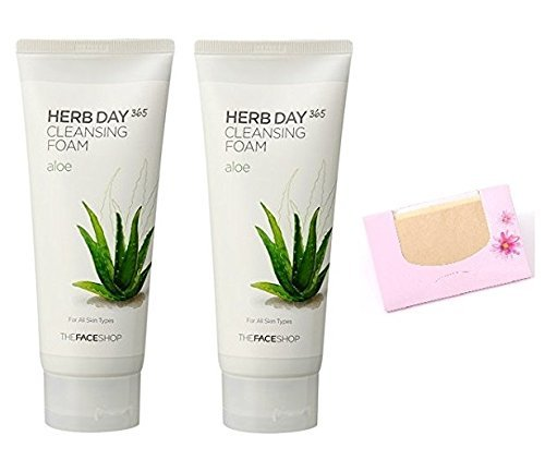 2 Pack of The Face Shop Herb Day Aloe Cleansing Foam + SoltreeBundle Natural Hemp Paper - Face Shop Herb