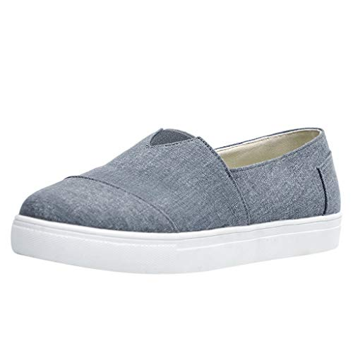 Womens Canvas Flat Loafers Slip-On Driving Shoes Comfort Cushioned Insole Athletic Running Tennis Sneakers (US:8.5, Gray)
