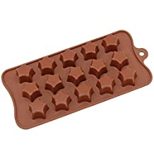 Freshware CB-613Br 15-Cavity Silicone Super Star Chocolate, Candy and Gummy Mold