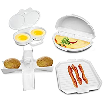 4 Pcs Microwave Cookware Set - Bacon Cooker Rack, Omelette Pan, Potato Baker, Egg Poacher - Complete Microwave Baking Cooking Gadgets Starter Kit Dishwasher Safe by Perfect Life Ideas