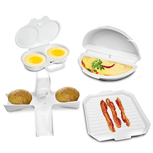 Bacon Microwave Dish (4 Pcs Microwave Cookware Set - Bacon Cooker Rack, Omelette Pan, Potato Baker, Egg Poacher - Complete Microwave Baking Cooking Gadgets Starter Kit Dishwasher Safe by Perfect Life Ideas)