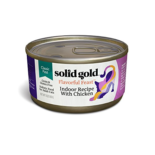 Solid Gold Flavorful Feast Chicken Pate for Indoor Cats; Natural, Holistic Grain and Gluten Free Wet Adult Cat Food with Superfoods; 3 oz, case of 24