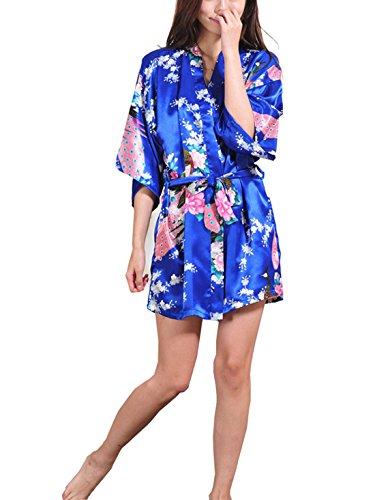 Feoya Peignoir Femme Satin Pyjamas robe Court Kimono - Royal bleu