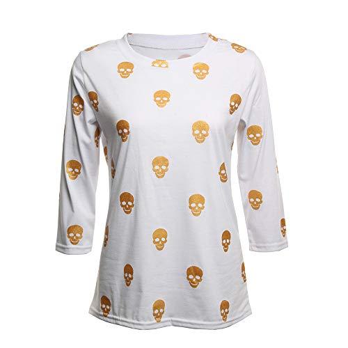 TWGONE Halloween Womens Tops Long Sleeve Skull Print Gold Stamp Blouse Bottom Shirt(US-6/CN-XL,White) -