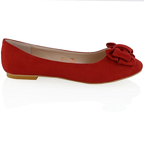 SUEDE New Ballerina Bow Mocassins ESSEX On Chaussures Ballerines GLAM pour RED Womens Flat Slip FAUX dames Pumps Dolly B55TqSHw