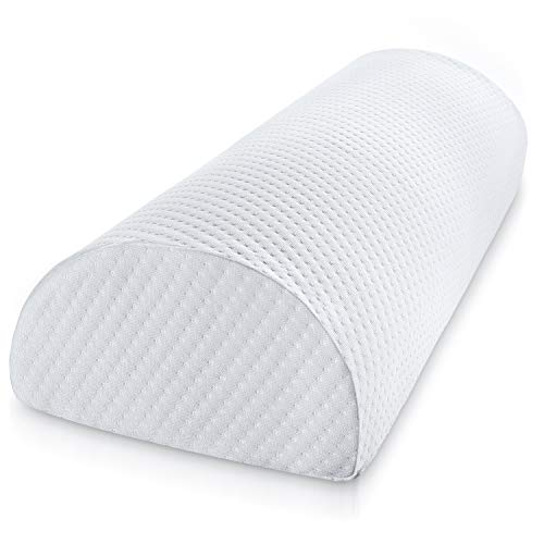 Abco Tech Half Moon Pillow Bolster - Pain Relief Memory Foam Cushion with Removable/Washable Cotton Cover – Reduced Stress on Spine, Effective Support for Side and Back Sleepers etc. (White) by Abco Tech